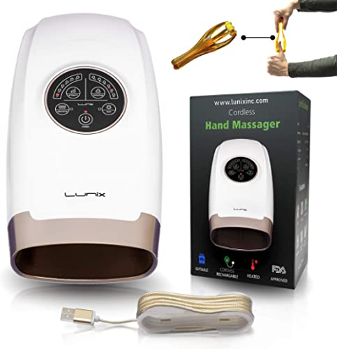 Lunix Cordless Electric Hand Massager - 6 Levels Pressure Point Therapy Massager for Arthritis, Pain Relief, Carpal T...