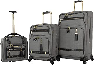 Designer Luggage Collection- 3 Piece Softside Expandable Lightweight Spinner Suitcases- Travel Set includes Under Seat Bag, 20-Inch Carry on & 28-Inch Checked Suitcase (Peek-A-Boo Grey)