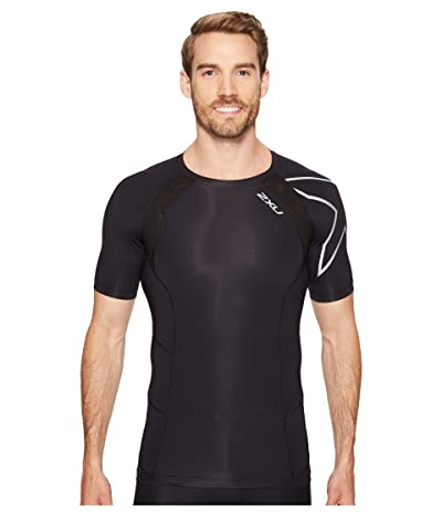 2XU Compression Short Sleeve Top (Black/Silver) Men