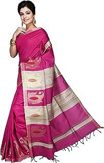 Ethnic Indian Women's Bhagalpuri Handloom Cotton Silk Saree/Sari with Unstitched Blouse Piece.