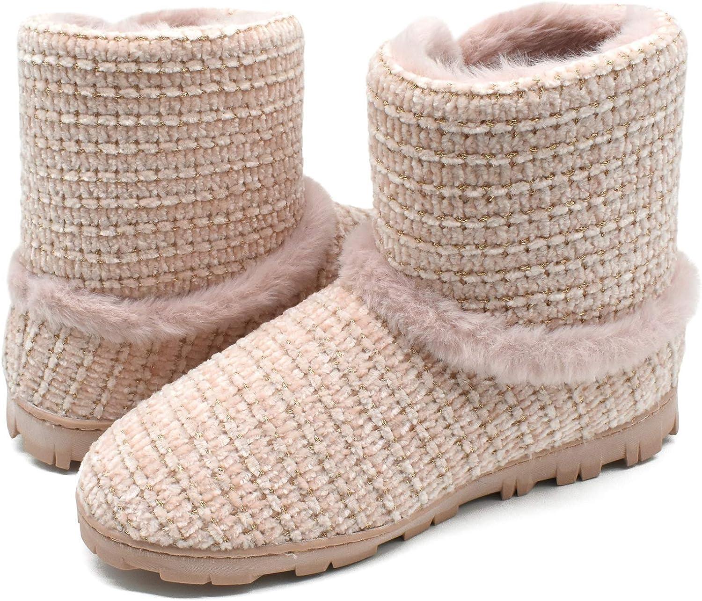Zapatos C/álidos con Forro de Felpa con Suaves Pompones y Suela de Goma Antideslizante Botas Cerradas Pantuflas COFACE Zapatillas de Casa para Mujer Invierno