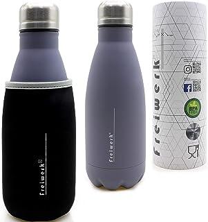 1aTTack.de Freiwerk termosolerad flaska flaska 350 ml, dubbelväggigt rostfritt stål, med neoprenfodral, barn, resor, utomh...
