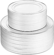 100 Piece Plastic Party Plates White Silver Rim, 50 Premium Heavy Duty 10.25 Inch Dinner Plates and 50 Disposable 7.5 Inch Dessert Appetizer Elegant Fancy Heavy Duty Wedding Plates