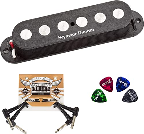 wholesale Seymour Duncan SSL-4 Quarter Pound Strat Pickup for Neck/Bridge of Guitars Bundle with Blucoil 2-Pack new arrival of 2021 Pedal Patch Cables, and 4-Pack of Celluloid Guitar Picks sale