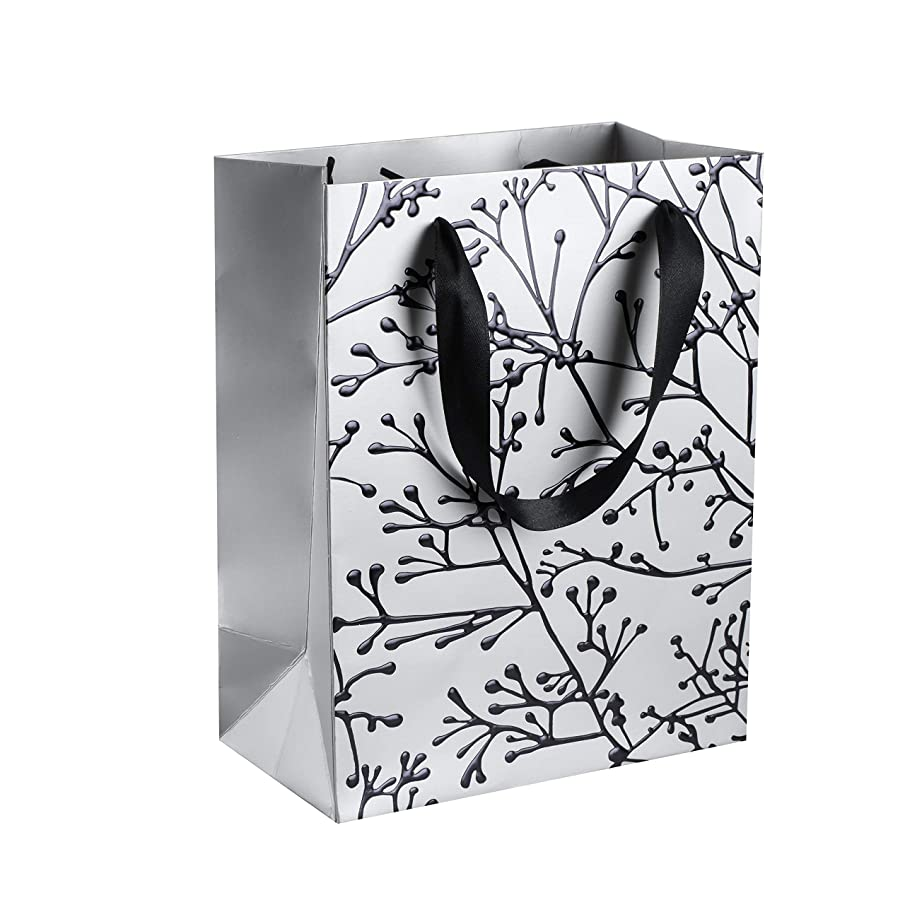 """Floral Stems Design Foil Stamped Gift Bags (12 Pack)- 9""""x 7""""x 4"""" Unique Design with Durable Ribbon Handles, Beautiful Present Bags Best for Birthday, Wedding and Party Favors (Silver)"""