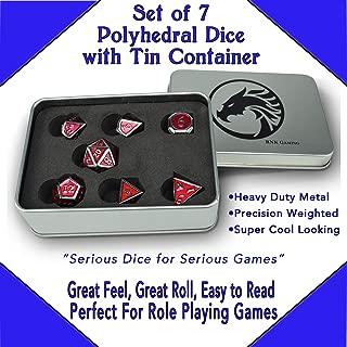 RNK Gaming Set of 7 Metal Polyhedral Dice Enamel with Tin Storage Case