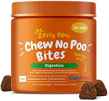 Zesty Paws Chew No Poo Bites - Coprophagia Stool Eating Deterrent for Dogs - Deter & Stop Dog from Eating Feces - Pro...