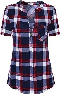 Women's 3/4 Sleeve V-Neck Casual Plaid Tunic Shirt