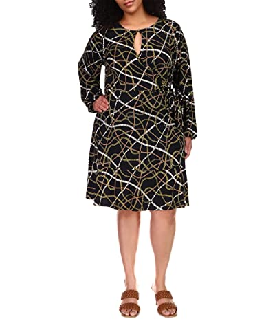 MICHAEL Michael Kors Plus Size Belt Print Mini Wrap Dress (Black/Bone) Women