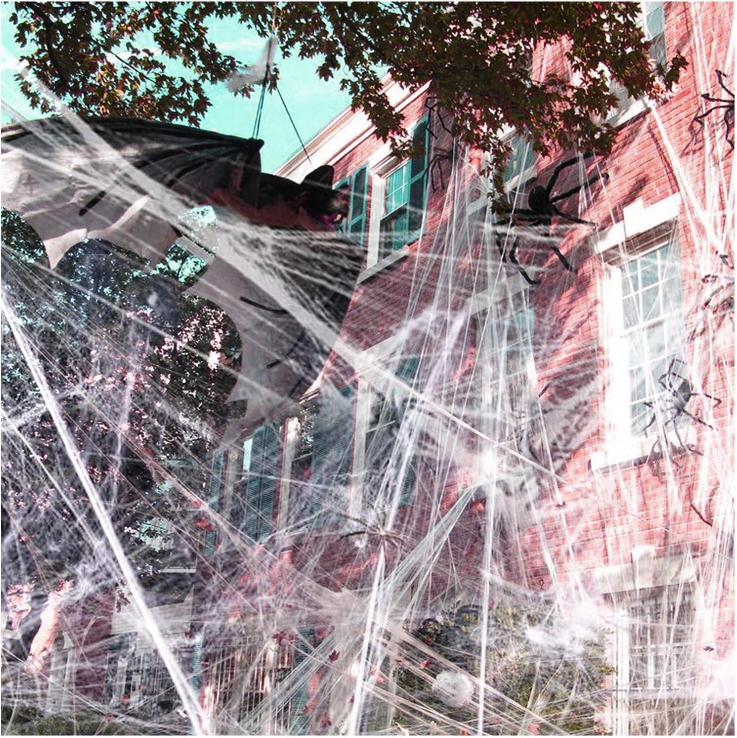 1000 sqft Halloween Spider Web Decorations, VIRIITA Super Stretch Fake Spider Webs, White Webbing Spooky Cobwebs Halloween Supplies for Halloween Party Decorations Bar Haunted House