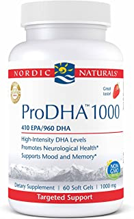 Nordic Naturals ProDHA 1000 - Fish Oil, 410 EPA mg, 960 DHA mg, Targeted Intensive Support for Neurological Health, Mood, Memory, and Healthy Vision*, Strawberry, 60 Soft Gels
