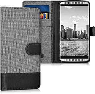 kwmobile Wallet Case for ZTE Axon 7 Mini - Fabric and PU Leather Flip Cover with Card Slots and Stand - Grey/Black