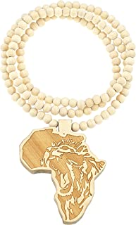 GWOOD Africa Lion Good Wood Replica Pendant 36 Inch Long Necklace