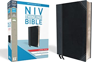 NIV, Thinline Bible, Large Print, Leathersoft, Black/Gray, Red Letter Edition, Comfort Print