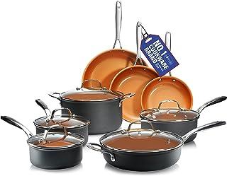 GOTHAM STEEL Pro Hard Anodized Pots and Pans 13 Piece Premium Cookware Set with Ultimate Nonstick Ceramic & Titanium Coati...