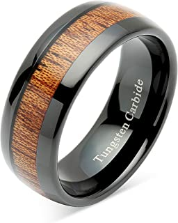 Tungsten Rings for Men Women Wood Inlay Black Plated Comfort Fit Size 6-16