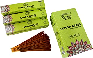 raajsee 15 GMS x 12 Pack Lemon Grass Incense Sticks,100% Pure Organic Natural Hand Rolled Free from Chemicals - Perfect fo...