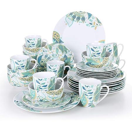 VEWEET, Série Elina, Service de Table Complet en Porcelaine, 32 Pièces pour 8 Personnes, Inclus Assiette Plate, Petite Assiette, Bols, Tasses