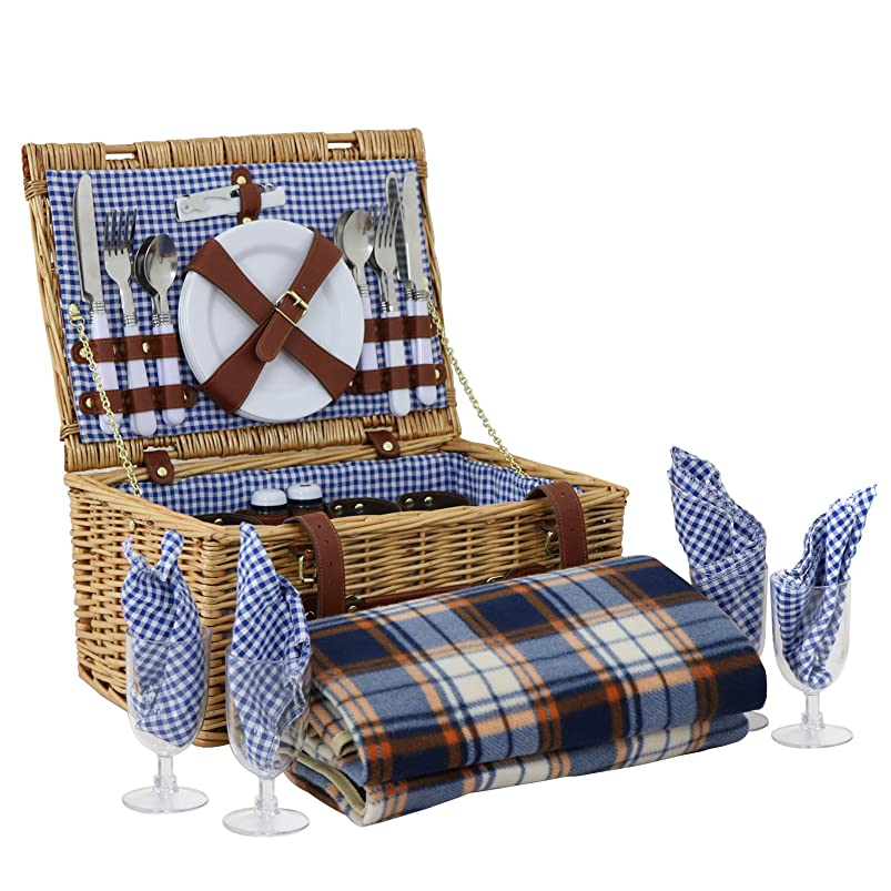 ZENY Wicker Picnic Basket 4 Person Wicker Hamper Set with Flatware, Plates and Wine Glasses Includes Tableware & Picnic Blanket (4 Person) pvjlagia226657