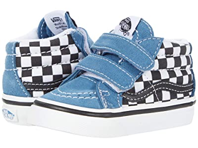 Vans Kids Sk8-Mid Reissue V (Infant/Toddler) ((Checkerboard) Black/Navy) Boys Shoes