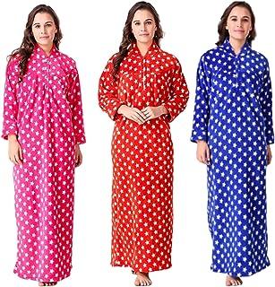 CIERGE Women's Full Length Woollen Nighty (Multicolour; Free Size) Pack of 3