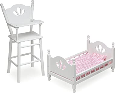 Badger Basket English Country Baby Furniture High Chair/Bed Playset (fits American Girl Dolls), White/Pink