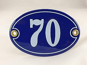 Emaille huisnummer bord nr. 70, ovaal, blauw-wit Nr. 70 Blau-Weiß
