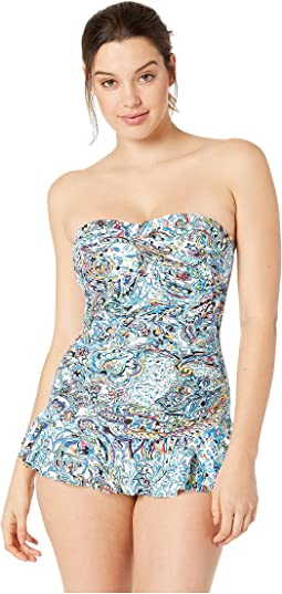 Mystic Paisley Twist Shirred Bandeau One-Piece