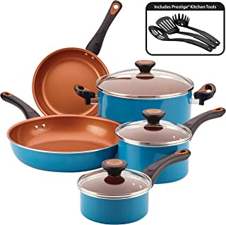 Farberware 10366 Glide Dishwasher Safe Nonstick Cookware Pots and Pans Set, 11 Piece, Teal