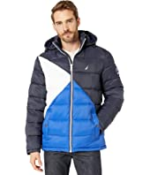 Hooded Logo Color Block Puffer