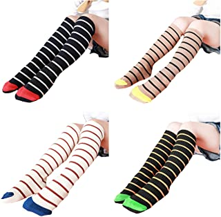 4 Pair Girls Knee High Socks Cotton Cute Fashion Legging Stripe Dress Sock
