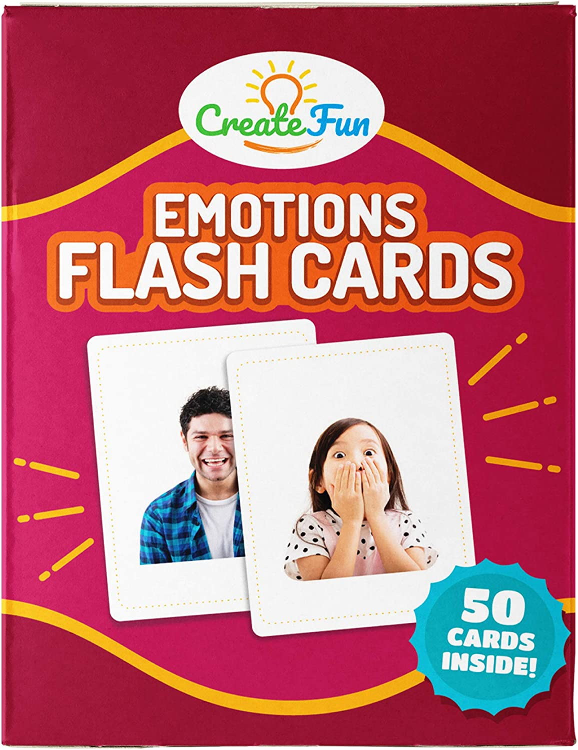 CreateFun Feelings and Emotions Flash Cards | 50 Emotion Development Educational Photo Cards | 7 Starter Learning Games for Your Classroom, Speech Therapy Materials and ESL Teaching Materials