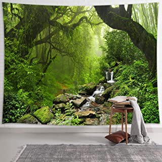 NYMB Nature Tapestry Rainforest Landscape Tapestry Wall Hanging, Green Forest with stream Water Tapestries, Misty Forest Wall Art Hanging Boho Tapestries for Bedroom Living Room Dorm