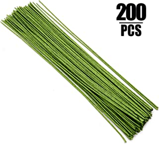 200 Counts Floral Wire 14 Gauge 40CM x 2MM (Inner Wire 18 Gauge) Stem Wire for DIY Floral Arrangements and Decorations