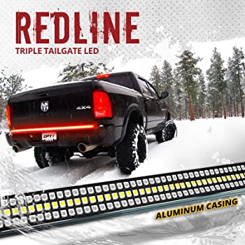 "OPT7 60"" Redline Triple LED Tailgate Light Bar w/Sequential RED Turn Signal - 1,200 LED Solid Beam - Weatherproof No Drill Install - Full Function Reverse Brake Running 2yr Warranty"
