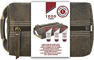 Izod Mens 4-Piece Toiletry Travel Case Set with Body Wash, Facial Cleanser and Body Lotion