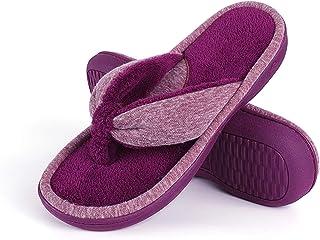 Wishcotton Women's Adjustable Memory Foam Terry Flip Flop Slippers Cozy Lightweight Open Toe House Shoes