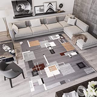 Tapiso Laila Alfombra de Salón Sala Dormitorio Diseño Moderno Gris Blanco Beige Patrón Geométrico Fina 120 x 170 cm