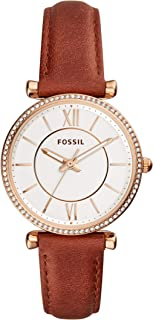 Fossil Women's ES4428 Fossil Carlie Brown Analogue Wrist Watch, Brown, Small