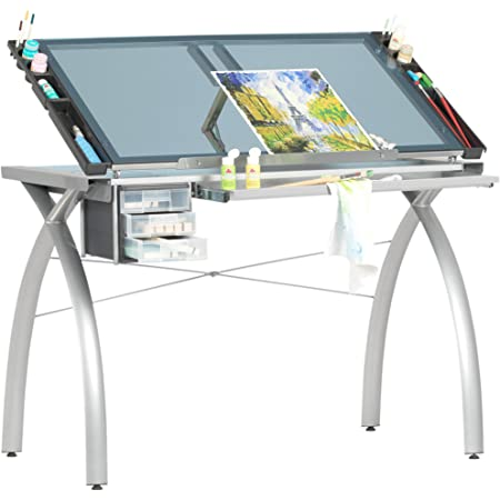Futura Crafting, Drafting, Drawing Table with Adjustable Top, Silver and Blue Glass