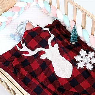 Extra Soft Knitted Blanket Christmas Elk Baby Boy Girl Unisex Wrap Blanket Pram Cot Crib Newborn Crochet Quilt Nursery Bed...