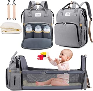 3 in 1 Diaper Bag Backpack with Changing Station, NIUTA 2021 Travel Bassinet Foldable Baby Bed with Insulated Pocket, Baby Bag Portable Crib, Large Capacity, Waterproof.