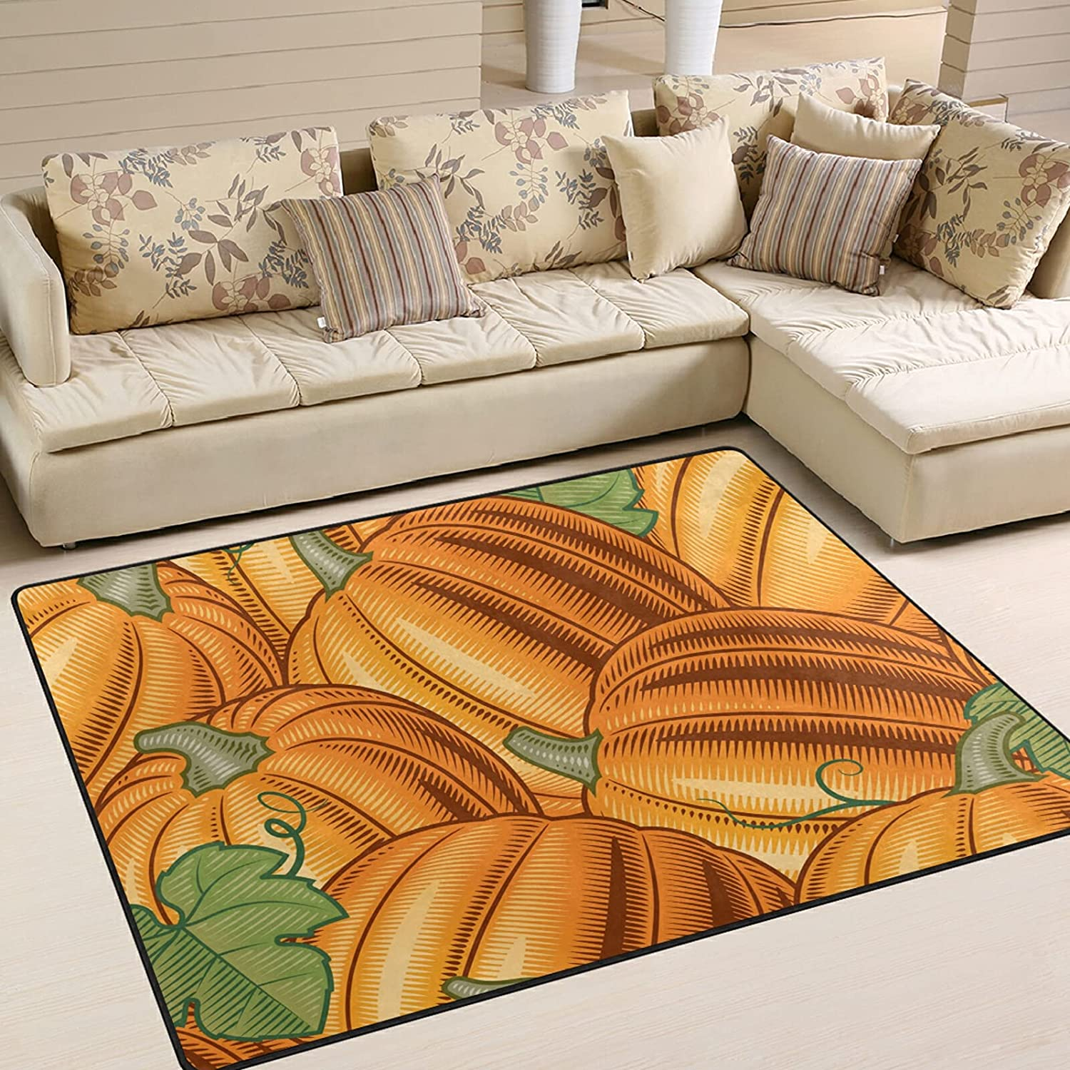 Modern Area Rugs 5x7 Al sold out. Washable Excellent - Fall Autumn Halloween So Pumpkin