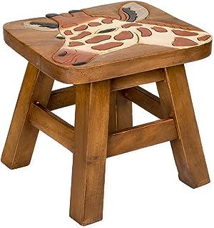 Giraffe Design Hand Carved Acacia Hardwood Decorative Short Stool