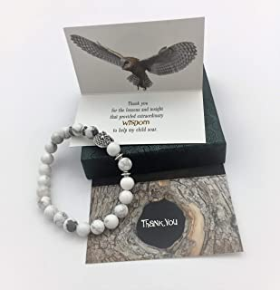 Smiling Wisdom - Owl Stretch Bracelet - Thank You Teacher Appreciation - Mentor Coach Counselor Gift Set - For Her Woman from Parent of Son or Daughter Student – White Grey - Wisdom