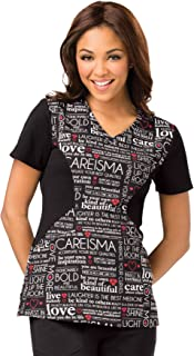 Careisma by Sofia Vergara Women's V-Neck Animal Print Scrub Top