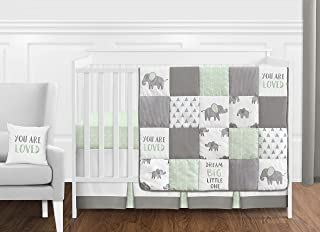 Sweet Jojo Designs Mint, Grey and White Watercolor Elephant Safari Baby Unisex Crib Bedding Set Without Bumper - 11 Pieces