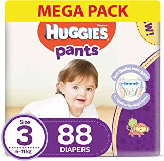 Huggies Active Baby Pants - Size 3,  6-11 kg, 88 Diapers Pants