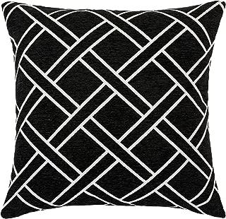 DECOMALL Super Soft Moroccan Geometric Trellis Decorative Square Floor Pillow Cover Cushion Case, 26x26 inches, Black