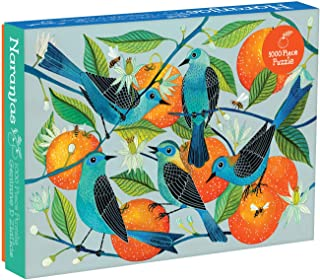 """Galison Naranjas Puzzle, 1,000 Piece Puzzle, 20""""x27"""", Fun and Challenging, Gorgeous and Colorful Illustration of Birds and Oranges, Art Jigsaw Puzzle with Birds for Families"""